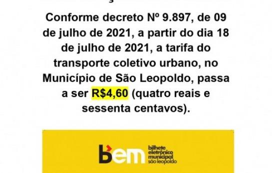 ALTERAÇÃO DE TARIFA - R$4,60 (tarifa…