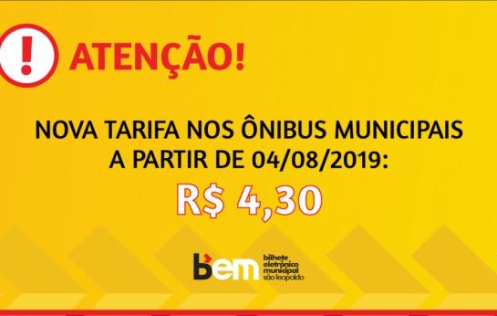 Nova tarifa a partir de 04.08.2019