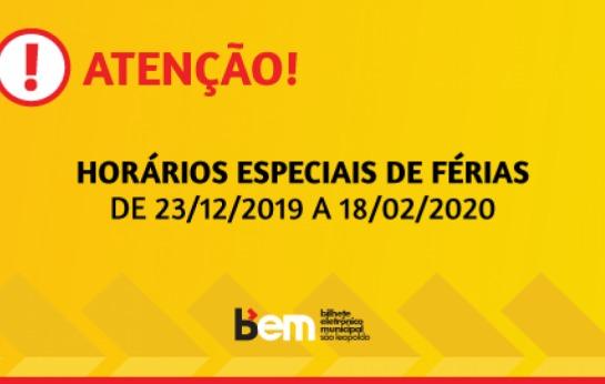HORÁRIOS DE FÉRIAS DE 23/12/19 A 18/02/20